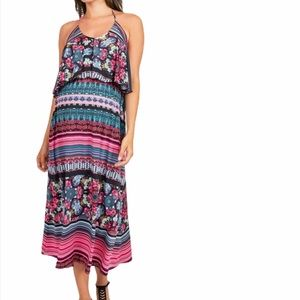 Melissa Masse Maternity Popover Halter Maxi Dress